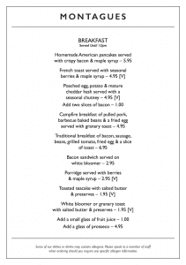 Montagues Blackpool Menu